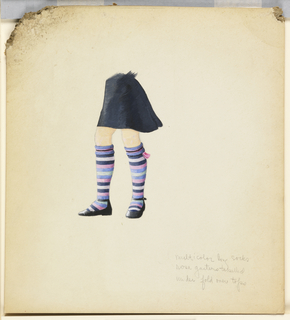 Drawing of girls' legs wearing a black skirt, stripped knee high socks (black, white, pink, periwinkle, and celydon) and black Mary-Jane type shoes.