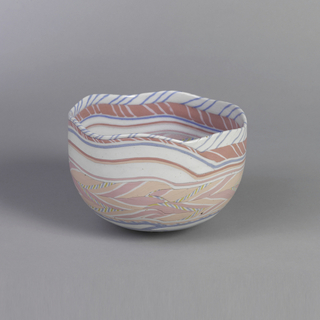 """One porcelain bowl, """"Hexagonal Pink,"""" coiled polychrome clay body (Neriage tech.) with exterior unglazed and interior clear glaze; 22 carat gold ornament on interior bottom."""