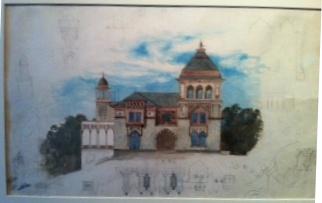 Drawing, East Façade, Olana, 1872
