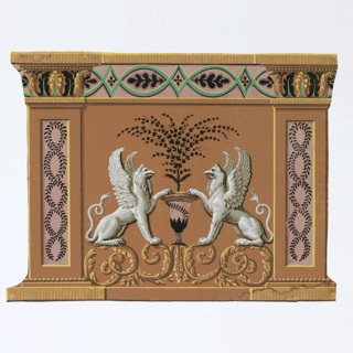 A purple urn containing bouquet of black foliage, flanked by griffons, printed in grisaille, seated on foliage scroll. Outside these, pilaster with interlacing foliage design or guilloche in a purple inset panel, and acanthus leaves about capital. Printed on a terra cotta ground. Horizontal rectangle in neoclassic style.