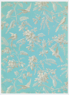 End of a roll, giving complete width. Long-tailed birds, in flight and perched on slender branching stems bearing small leaves, flowers and stalks of seed pods. Printed in gray and white on blue ribbed ground.