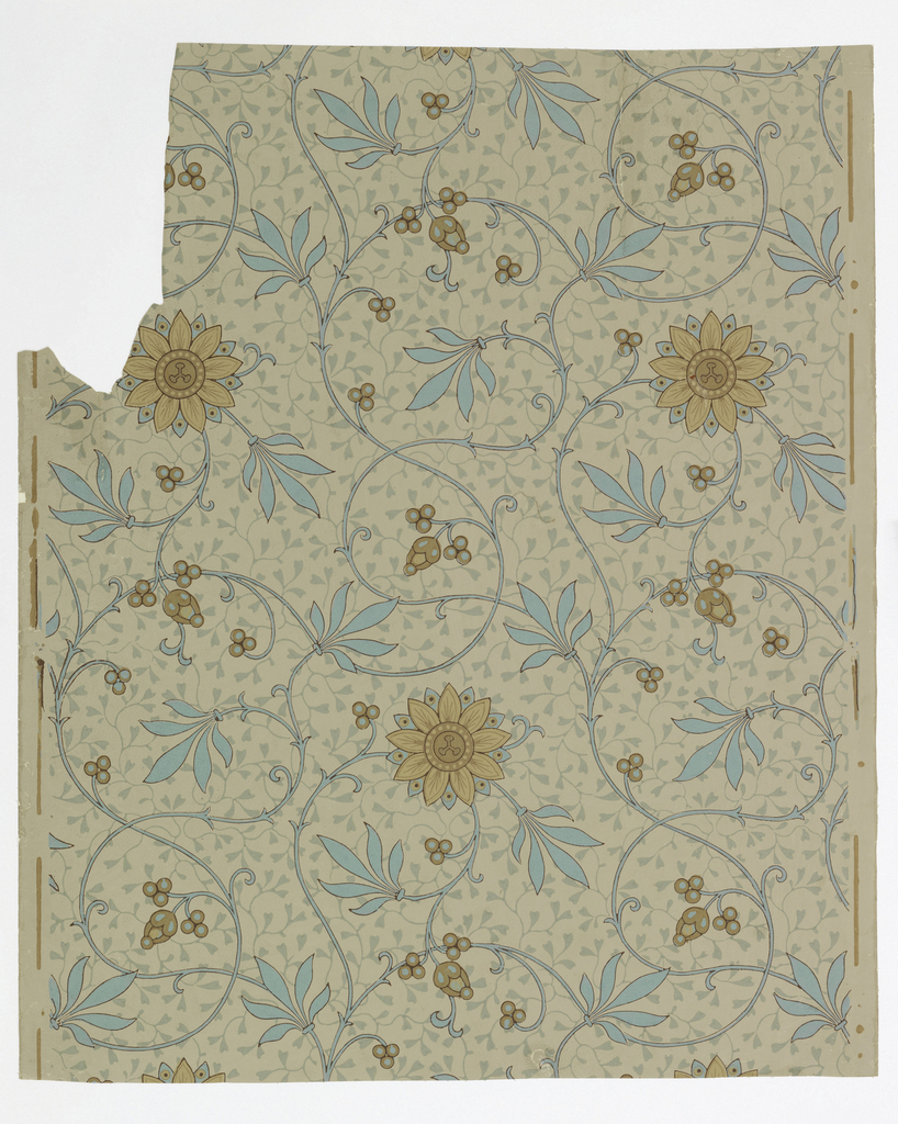 Full width, giving slightly more than one repeat of slender vine pattern of conventionalized passion-flowers, against secondary all-over pattern of foliation. Paper embossed with a pebble figure.