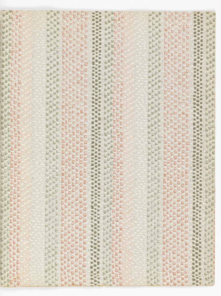 Embossed and printed wallpapers simulating the woven textiles of Dorothy Liebes. Twenty-five single sheets with note on the back of each giving the name of each design, the price and pattern number.