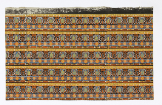 Five bands of a border design printed across the width. Generalized, small-scale classical revival (?) Each band consists of four strips of varied patterns, i.e. lowest strip consists of a cable alternating with six beads. The second strip has three alternating medallions, two larger ones flanking a small one. The third strip contains palmettes alternating with a shield-like form enclosing a five-blossomed sprig. The fourth strip consists of a Greek key fret interspersed with diamonds and simple flowers. Printed in orange, white, blue, ocher and yellow on a dark brown background.  H# 616