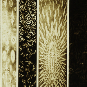 Luxograph print of the artist's hand-drawn originals on linen. The titles include Trees, Sand Garden, East of the Sun, Serenade, Water Music, A Thousand and One Nights, Air-Fire-Water-Earth, Arches, The Closed Garden, Byzantine Curtains, Scene Chinoise I and II, Puppies and Bamboo in Moonlight, and The Pines of China.