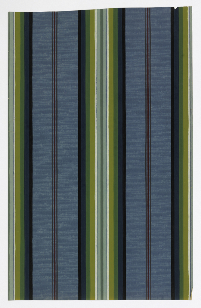 Stripe with textured ground, large central stripe alternating with three thin lines of color. Printed in black, dark blue, green, yellow, white, pale blue and dark red on a blue ground.
