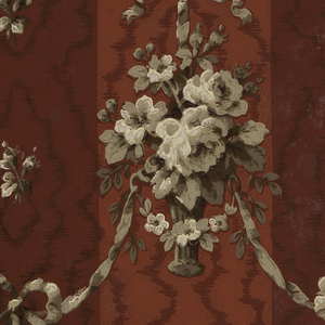 Moire stripe with festooned hanging baskets of flowers. Printed in dark red, raspberry, taupe and cream.