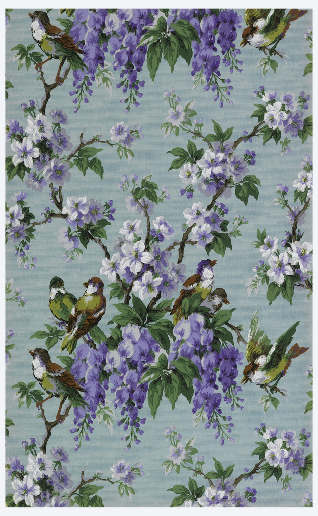 Lattice framework made of flowering branches covered with wisteria, birds perch on the branches. Printed in purple, green, dark red and black on a blue ground.
