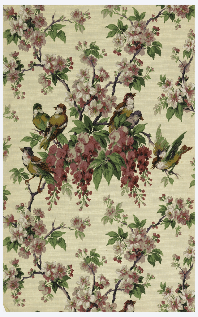 Lattice framework made of flowering branches covered with wisteria, birds perch on the branches. Printed in dark pink, grey, black and green on a creamy gray ground.