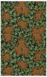 Large scale ivy lattice on brick wall. Printed in green, grey, orange and black.