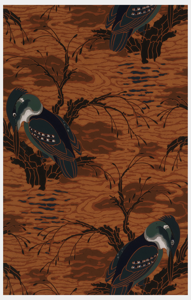 Kingfisher seated on branch amid stylized water. Printed in dark green, light green, black, white and grey on a dark orange ground.