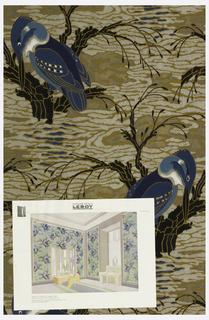 Kingfisher seated in branch amid stylized water. Printed in silver, dark blue, light blue, white, grey and black on a brown ground. Room illustration included.