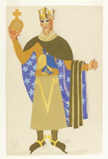 Costume Design for the character of Henry IV for Luigi Pirandello's production of Henry IV. The king wears a costume in browns and blues, with a blue and gold eagle-like insignia on the chest. A cape is draped around his shoulders, the outer side of which is olive-green and the inner side of which is blue with white stars. He holds his left hand out away from his body at a ninety-degree angle, holding the cape draped over his forearm. The king's beard is red.