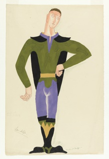 Costume design for the character Laudolph (nicknamed Lolo) for Luigi Pirandello's Henry IV. The character is depicted standing with his feet together, left hand on hip, and head turned in three-quarter view towards the bent arm. The figure wears a green, long-sleeved shirt, blue pants, a yellow belt, and black and yellow boots. A black cape is draped around his shoulders.