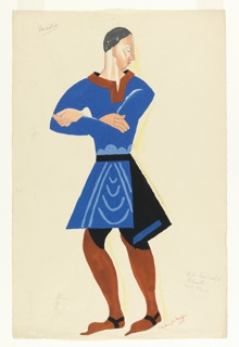 Costume design for the character Harold (nicknamed Fauk) for Luigi Pirandello's Henry IV. The character is depicted standing in three-quarter view, arms crossed at his chest, and his head turning back over his shoulder to his left. He is dressed in a blue tunic with a red collr and red boots.