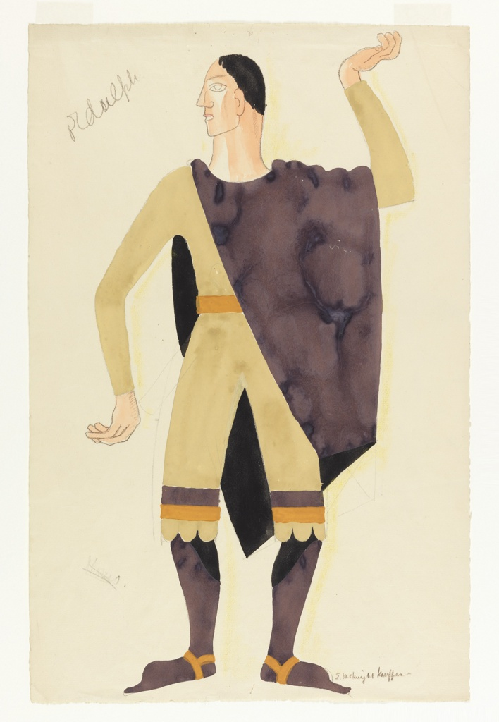 Costume design for the character Ordulph (nicknamed Momo) for Luigi Pirandello's Henry IV. The character is depicted standing frontally with his left hand raised and his head turned to his right. He wears a beige top and beige cropped pants, belted with an orange belt. The legs of his pants each have a brown and orange stripe at the bottom. A brown cloak is draped across his left shoulder and falls across his body diagonally.