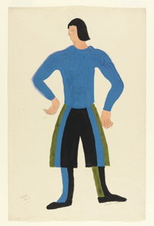 Costume design for the character of the First Valet for Luigi Pirandello's Henry IV. The character stands facing forward, with legs at hips-distance apart. Both hands are bent at the elbow towards the waist, but do not touch his body. His head is turned to his right. The character wears a blue shirt with black, green, and blue pants. His right boot is green and black, while his left boot is blue and black.. The character is depicted with chin-length, black hair.