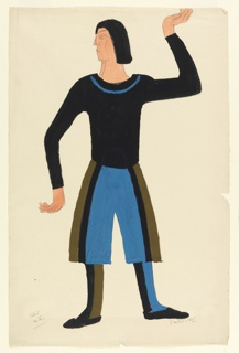 Costume design for the character of Second Valet in Luigi Pirandello's Henry IV. The character is depicted standing frontally with his legs hips-distance apart. Both arms are bent at the elbow, but his left hand reaches above his head, while his right hand points downwards. His head is turned to his right. He wears a black top with a blue collar, and blue, green, and black striped pants. His left boot is blue and black, while his right boot is green and black.