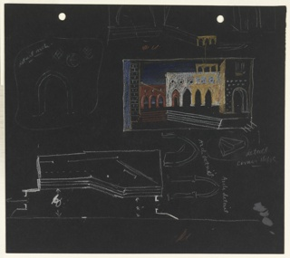 Studies for the stage design of Act I Scene 1 of Shakespeare's Othello. In upper left section of page, overlapping arched facades (possibly depicting various loggia) in orange, yellow, and white. Below and to the right, more detailed sketches of arches, steps and other details of the stage design drawn in white crayon. Two holes, upper edge, for loose-leaf binder.