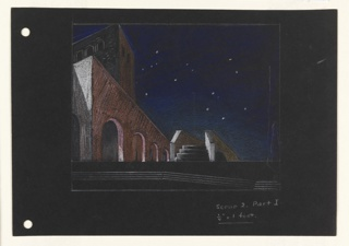 Stage design for Act I, Scene 2 of Shakespeare's Othello on black paper. The street scene is shown at night, a dark blue sky dotted with white dots (indicating stars) above. At left, a loggia is situated in front of a taller rectangular building. To the right of the loggia is a low foot bridge depicted front on.  At the far left of the page, two holes, left, for loose leaf binder.