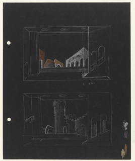 Two studies for stage designs for Act I, Scene 2 of Shakespeare's Othello on black paper. Upper drawing: a sketch of a scene with white arched building on the right; at center, a short staircase leading to a foot bridge in yellowish-brown; left, a small arched building in brown. Lower drawing, all in white outline: a crenellated tower, stairs and partial, crenellated wall. To the right of this drawing, at the edge of the paper, four large brush strokes in various colors. On verso, a white crayon sketch of a bedchamber, for Act IV, Scene 2.Two holes, left, for loose-leaf binder.