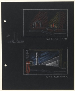 Two studies for the set design of scenes in Shakespeare's Othello in orange, yellow, and white crayon. Upper design depicts a council hall with a seating area on the right in orange and yellow, and an arched doorway on the left with a figure in white outline next to it. Lower design depicts a street view of Cyprus with a blue sky, with a minaret in the center, crenellated wall, stairs, and building with an arched doorway on the right; on the left a brick wall with (possibly) a draped canopy in orange and yellow. At the left edge of the page, two holes for loose-leaf binder.