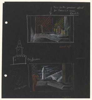 Two studies for the set design of scenes in Shakespeare's Othello. Upper design depicts a council hall with a seating area on the right in orange and yellow, and an arched doorway on the left. Lower design depicts a street view of Cyprus, with a minaret in the center, crenellated wall, stairs, and building with an arched doorway on the right; on the left a brick wall with (possibly) a draped canopy in orange and yellow. In the left margin: detail of the minaret with crenellation in white; below that, a sketch of the arched doorway with stairs on the opposite side. At the left edge of the page, two holes for loose-leaf binder.