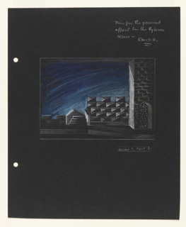 Stage design for Scene1, Part 2 (set in Cyprus) for Shakespeare's Othello. Exterior night scene with brick wall with arched doorway at right, crenellation details and stairs. At left edge of paper, two holes for loose-leaf binder.