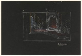 "Stage design for Act IV, Scene 2 in Shakespeare's ""Othello"" depicting a bedchamber. Design depicts a bedroom with two arched doorways on either side, walls decorated with yellow dots, a white canopied bed with a sleeping figure, and a window with light streaming through at left."