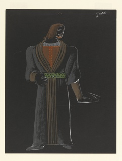"Costume design for Iago of Shakespeare's ""Othello"". A broad-shouldered man with shoulder length brown hair, wearing a gray robe that reaches his feet, a green belt, and a brown shirt with orange details. His head is turned to his left. His right arm is bent with his thumb looped through his belt, and his left arm straightened at his side with hand flexed upwards."