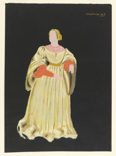 A woman with golden hair in up-do with pearled tiara, wears light yellow floor-length gown cinched at the waist by gold belt, with red sleeves and pink collar.