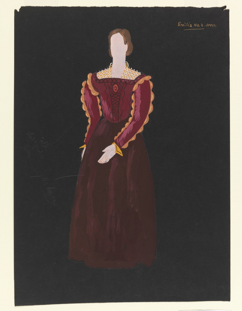 """Costume design for Emilia of Shakespeare's """"Othello"""". A standing figure with a brown up-do hairstyle wears a burgundy gown with full skirt, gold scalloped edges on sleeves, and a gold trellis-like collar. The figure is depicted frontally with her left arm swung across her body in the front to show off the sleve detailing."""