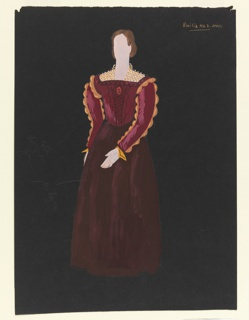 Vertical rectangle. A woman in a burgundy gown with full skirt, gold scalloped edges on sleeves, and gold trellis-like collar.