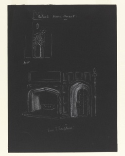 "Study of a fireplace for the stage design fof Sir John Gielgud's production of ""Queen of Scots,"" a play by Gordon Daviot (also known as Elizabeth Mackintosh) performed at the New Theater in London. The upper section depicts a brick tower with a door in white outline. Lower section depicts a large fireplace on the left and a door on the right, also in white outline."