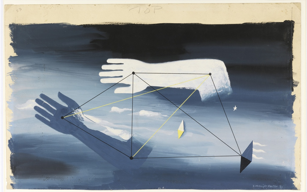 "Design for the backdrop used during the Prologue of ""Checkmate"". Design showing two disembodied hands and arms, one gray, one white floating horizontally in a blue and black sky. Connecting the two arms are a series of black and yellow lines, each terminating at a black dot on the arms. At center, a small gray and white rhombus."