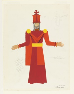 Costume design for the Red King's costume in red and orange. The king, with gray shoulder-length hair and beard, stands frontally with arms open at either side. He wears a crown topped with a cross, his tunic has a slim silhouette with a cape attached by two gold discs at shoulders and a wide gold belt. Sketch of the back of the costume in graphite, upper right. Design notations.