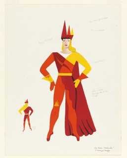 Costume design in red and orange for the Red Queen. Blonde female figure standing frontally with hands at waist, arms bent at the elbows. The Queen wears a jumpsuit with a gold belt, one gold sleeve, cuffs, and a cape. Crown on the Queen's head is composed of three cones depicted in a row. Lower left, a small version of the figure and costume seen from the back. Design and color notations.