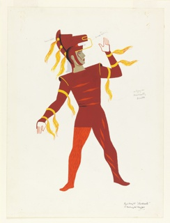 Costume design in red and orange for knight. Man looks to the right with his arm raised. His helmet in the shape of a horse's head. Yellow horse hair tassels stream from his helmet and sleeves of his tunic; he also wears tights in orange and red.