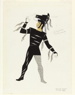 Costume design in black and silver for a black knight. Figure looks to the left with its arm raised. Figure wears a helmet in the shape of a horse's head with silver horse hair tassels streaming down it, a tunic in black with silver horse hair tassels hanging from the sleeve, and black and silver tights.