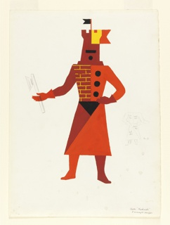 "Costume design in red, orange, and yellow for a ""castle,"" now more commonly known as a rook. Figure wearing a mask and headgear in the shape of a crenellated tower in red, orange, and yellow, with a black royal standard at top. The tunic consists of a brick pattern on the left and orange with black discs on the right. Figure is wearing gloves, and holds an ax in graphite in the right hand. In the lower right margin, a small version of the costume in graphite can be seen from the back with color notations."