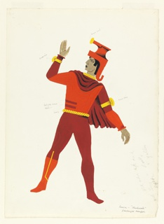 Costume design in red and orange for a pawn. Figure standing frontally, with head in profile, wearing stylized headgear, gold cuff with disc on right hand, gold cuff with disc on left arm, a heavy twisted gold belt, a cape, and tights in red, orange and yellow.
