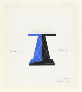 Design for a blue and black chessboard supported by an angular pedestal with base, decorated with criss-crossing stripes.