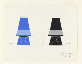 "Design for two chairs for the Prologue of ""Checkmate"". Frontal views of two chairs in blue and black, with tapering backs and trapezoidal-shaped bases. At center, pencil sketch of the chair in side elevation."
