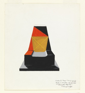 Design for a throne with trapezoidal back in orange, black and gold, with a gray seat, and a black base on a black platform.