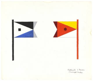 Design for two banners, perhaps representing the opposing forces of Love and Death. Flag on the left is on a black pole and shows a black square inside white triangle, bordered by a blue and a black triangle and ending with two gray triangles; flag on the right is on a red pole and shows a dark red circle inside light red triangle, bordered by a yellow and a white triangle and ending with two dark red triangles.