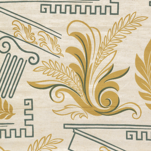 Scrolls, foliage and tilted pillar in black and gold.