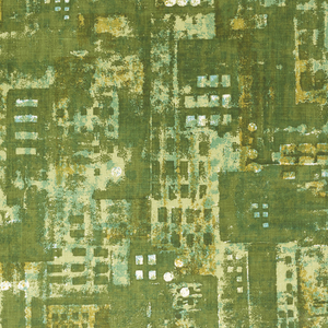 Printed textile with an abstract design of massed city buildings, in green,gold and white.