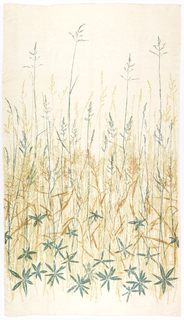 Prairie grasses in teal, light green and ochre on white.