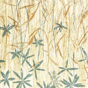 Prairie grasses in teal, light green and ochre on white.