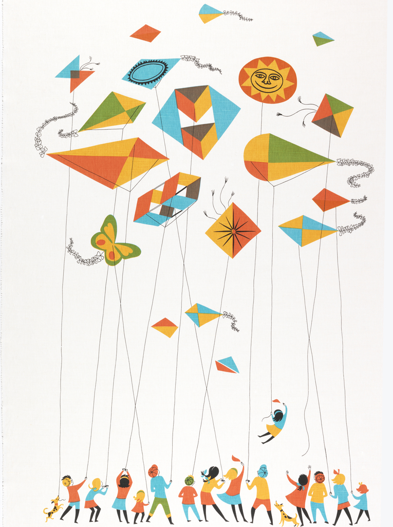 A group of children holding kite strings at the bottom; at top a cluster of kites in bright colors.